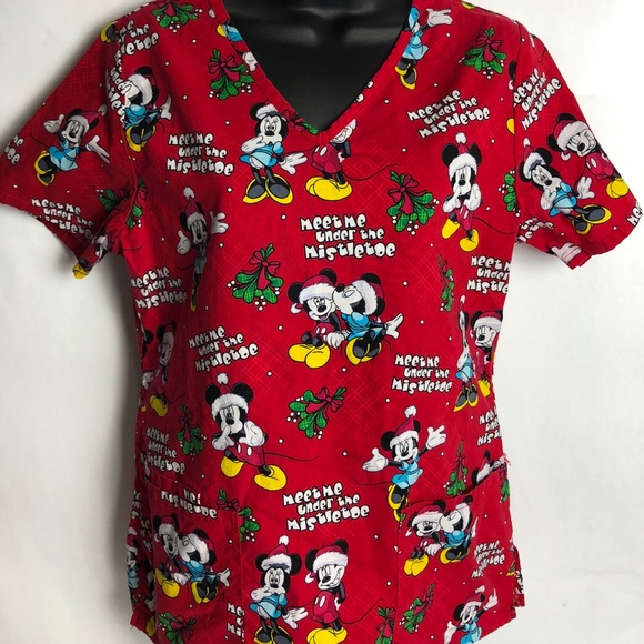 mickey mouse women christmas disney scrubs